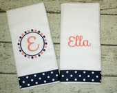Personalized Burp Cloth Set for Baby Girl - Navy Blue and Coral