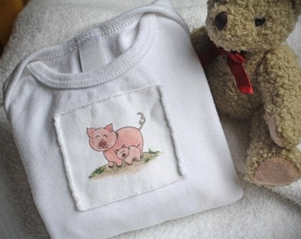 Pigs Onesie Piglets Baby and Momma Pig, Onesie Cotton Infant Baby Short Sleeve, Sizes: 3-6 Month OR 6-12 Month