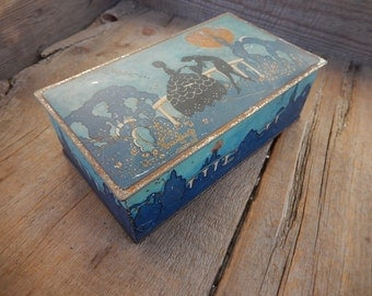 Vintage Tin Rustic Silhouette Art Deco Metal Box Romantic Graylings Candy Chicago Shabby Home Decor
