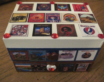 The Grateful Dead US Album Covers Hand Crafted Decoupaged Wooden Jewelry Keepsake Box