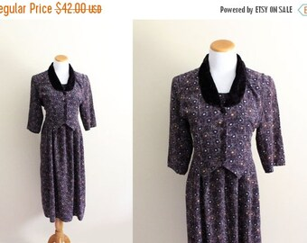 50% OFF SALE vintage dress 1980s eggplant purple womens clothing print velvet collar 1950's size medium m