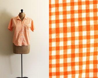vintage blouse orange gingham plaid print shirt 1990s clothing peach size s m small medium