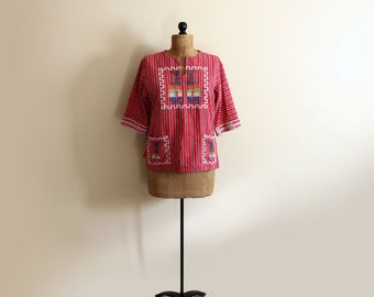 vintage tunic 1980s shirt native american indian red striped boho clothing size m medium