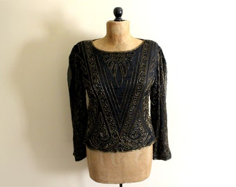SALE vintage blouse 80s beaded womens clothing 1980s top shirt black gold beadwork size large l