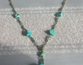 1920s Fabulous  Turquoise Nugget Necklace