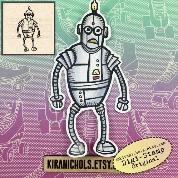 Robot Digital Stamp - Scifi Digital Stamp - Digistamp - Coloring Pages - Printable Sticker - Clip Art - Printables