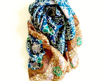 Riverside Blue Pure Silk Scarf | Sari Scarf | Batik | Teal Turquoise Dusky Mustard | Earthy | Soft Elegant | Gift for Her - Gift for MOM