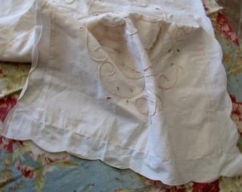 Shabby Chic beige PILLOW SHAM - cotton, cut out lace