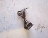 vintage silver charm - inkwell with feather pen - quill - silver charm