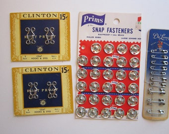 vintage notions - large snaps, safety pins, hooks and eyes - Clinton, Prms, De Long