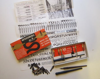 vintage lettering pen and nibs with box - Speedball box