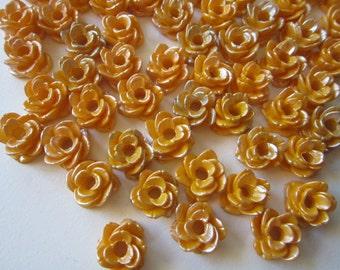 75 vintage resin roses - resin flowers - vintage Japan supply - 1/2 inch wide
