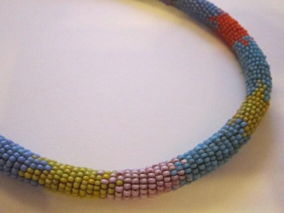 vintage beaded rope necklace seed tribal seed bead