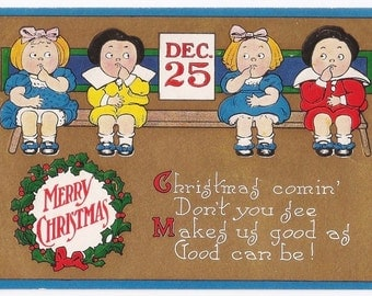 Doubtful Children - Antique Postcard - Christmas, Christmas Postcards, Christmas Cards, Children, Comical, Funny, Cartoon, Paper, Ephemera