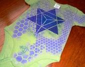 12-18 Months Sacred Geometry Baby Onesie Organic Cotton Hand-painted  w/ Star Tetrahedron Merkaba, Flower of Life & Chakras