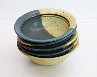 Studio Pottery Bowls STEARNS Set of 5 Soup/Cereal Indigo Emerald Natural Stoneware Natural Boho