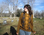 80s gold and black argyle sweater - button collar or turnover