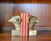 vintage mid century hollywood regency brass ram bookends