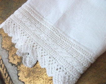 Antique Damask Huck Irish Linen Towel