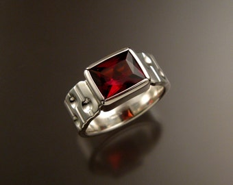 Garnet Ring Sterling Silver Bars and craters band large rectangular stone ring made to order in your size