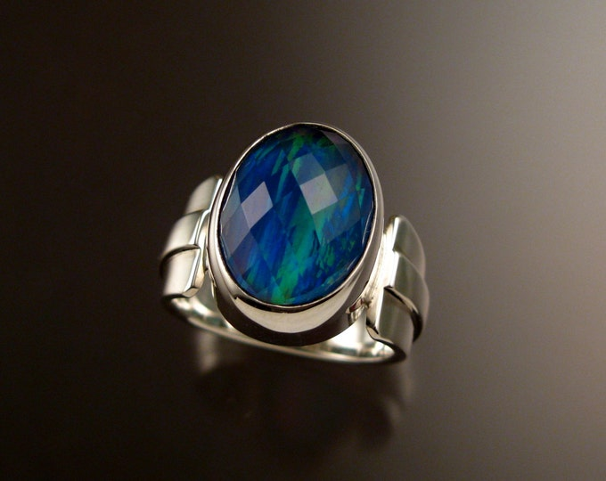 London blue Topaz and white lab Opal Doublet large faceted sterling silver ring size 8 1/2