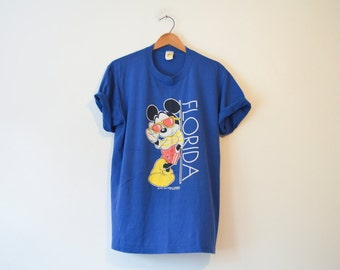 Vintage Blue Walt Disney World Mickey Mouse Florida T Shirt