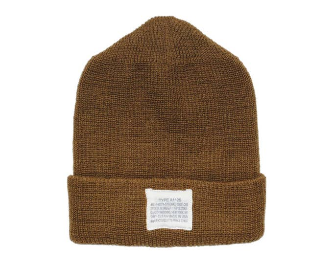 QMC Knit Watch Cap 100% Wool Winter Hat, Made in USA - Brown