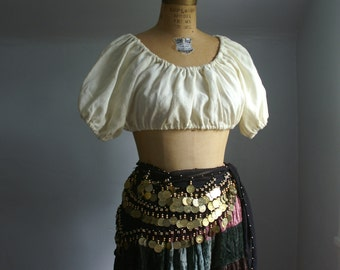 peasant crop top dirndl blouse shirt for renaissance medieval faire gypsy pirate belly dancer -ready to ship-