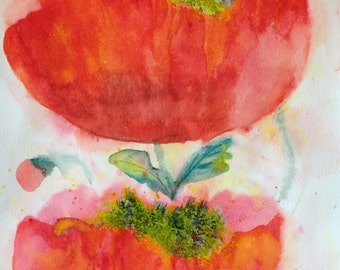 Two Poppies Abstract Art Print