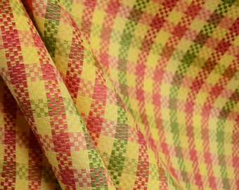 Payday Blossom Red Green Yellow Plaid Fabric