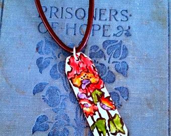 Handpainted Enamel pendant,,Enamel Jewelry,Viterous Enamel