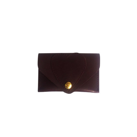 Burgundy leather card case / Wallet / leather case / heart / hearts / business card case / card holder / leather purse / kitty