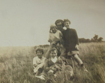 Vintage Photograph - Family in a Field