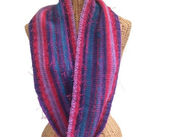 Infinity Scarf Hand Knit Wool Fuchsia Teal Purple Cowl Scarf Neck Warmer Wrap 52 Inches Space Dyed Yarn Multicolored