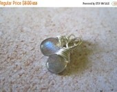 20% OFF ON SALE Labradorite Sterling Silver Wire Wrapped Briolette Dangle, 2 pcs, Gemstone Beads