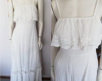 Vtg.70s White Gauze Lace Wedding Maxi Dress by Roberta.Small.Bust up to 36.Waist 27.