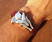 fox bracelet, distinctive jewelry, womens bracelets, edgy jewelry, leather bracelet, beaded Bracelets, fashion jewelry, season accessories