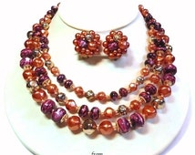 50s Hong Kong 3 Strand Necklace & Matching Earrings Demi Parure with Purple and Apricot Beads with Gold Accents - Vintage 50's Jewelry Sets
