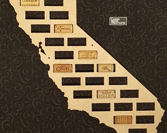 NEW --- California Shaped Wine Cork Map -- Holds 29 Wine Bottle Corks -- For your favorite wine lover -- Made in the USA