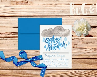 Watercolor Baby Shower Invitation Rain Cloud Shower Rain Invite Painted Paint Calligraphy Modern Calligraphy Party Invite Shower Sprinkle