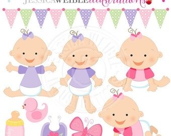 SALE Baby Girl Cute Digital Clipart for Card Design, Scrapbooking, and Web Design