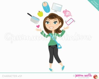 Brunette Juggling Mom Character Illustration, Multitasking Blog Girl, Woman Character, Juggling woman Cartoon, Blog Character #C051