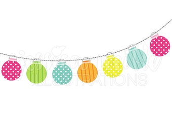 String of Party Lanterns Cute Digital Clipart, Party Lights Clip art, String of Lanterns Graphics, Party Decor Illustration, #249
