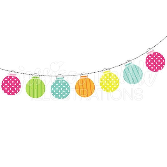String Of Party Lanterns Cute Digital Clipart Lights Clip Art Graphics Decor Illustration 249