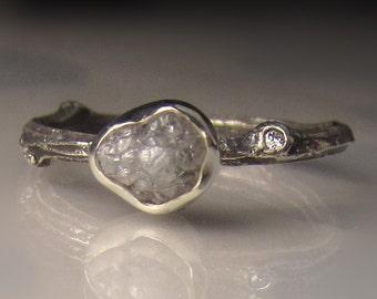 Rough Diamond Ring, Raw Diamond Twig Ring, Raw Diamond Ring, Rough Diamond Engagement Ring