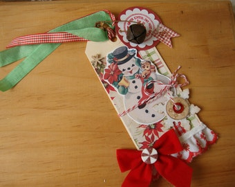 Retro Snowman gift tag Large vintage style Christmas Hostess gift do not open until Christmas tag mixed media paper art tag party favor tag