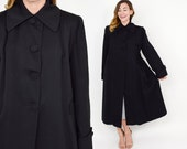 Reserved | 50s Black Wool Swing Coat | Gabardine Long Winter Coat | Large