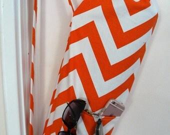 Yoga Bag - Meditation hold all - orange and white chevron zig zag