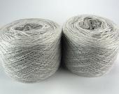 Light silver gray merino silk cashmere blend for lace knitting, Haapsalu shawl knitting, measure 2/28, 100 grams (1526yard), cobweb weight