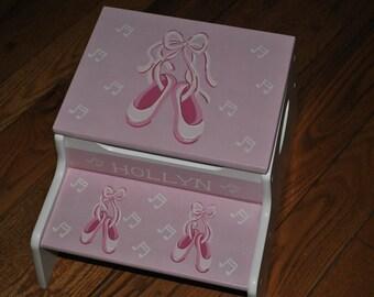 Kids Step Stool - Pink Ballet Slippers